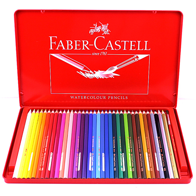 buy faber castell 115937 paint color pencil 24 36 color red iron box water. Black Bedroom Furniture Sets. Home Design Ideas