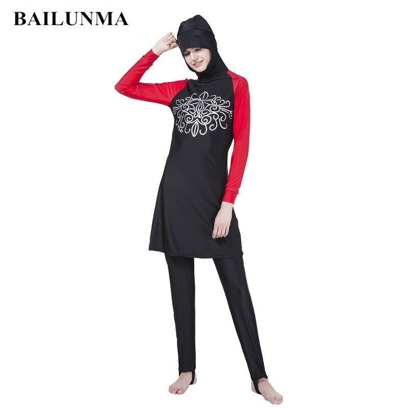 Sport & Unterhaltung WunderschöNen Mode Druck Musulman Frauen Modest Islamischen Badeanzüge Verbindung Hijab Volle Abdeckung Badeanzug Frauen Muslimischen Bademode Schwarz 4xl