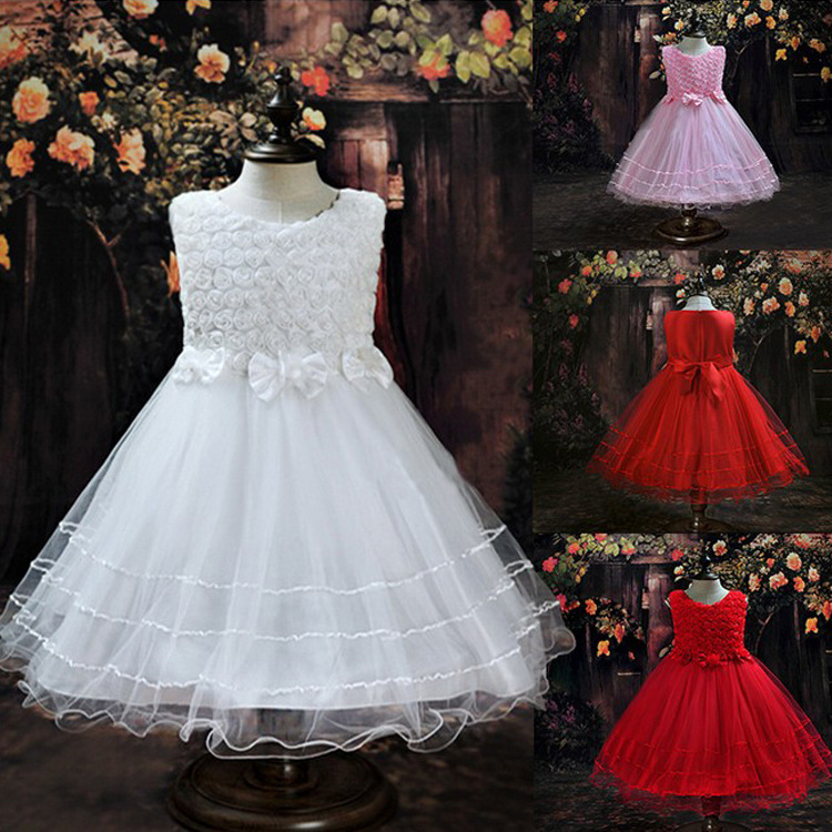 NEW FASHION SPRING/SUMMER GIRL DRESSES ROSE BOW PRINCESS DRESSES For Birthday Photo Wedding Party Festival dress L-72 new high quality fashion excellent girl party dress with big lace bow color purple princess dresses for wedding and birthday