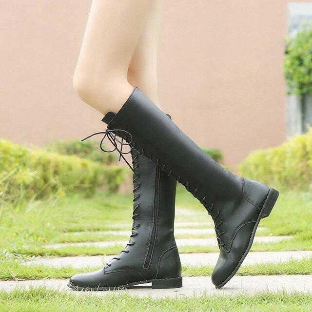 Kadın Deri Dantel-up Yuvarlak Ayak Diz Üzerinde Yüksek Çizmeler düz ayakkabı deri çizmeler kadın martin # g10