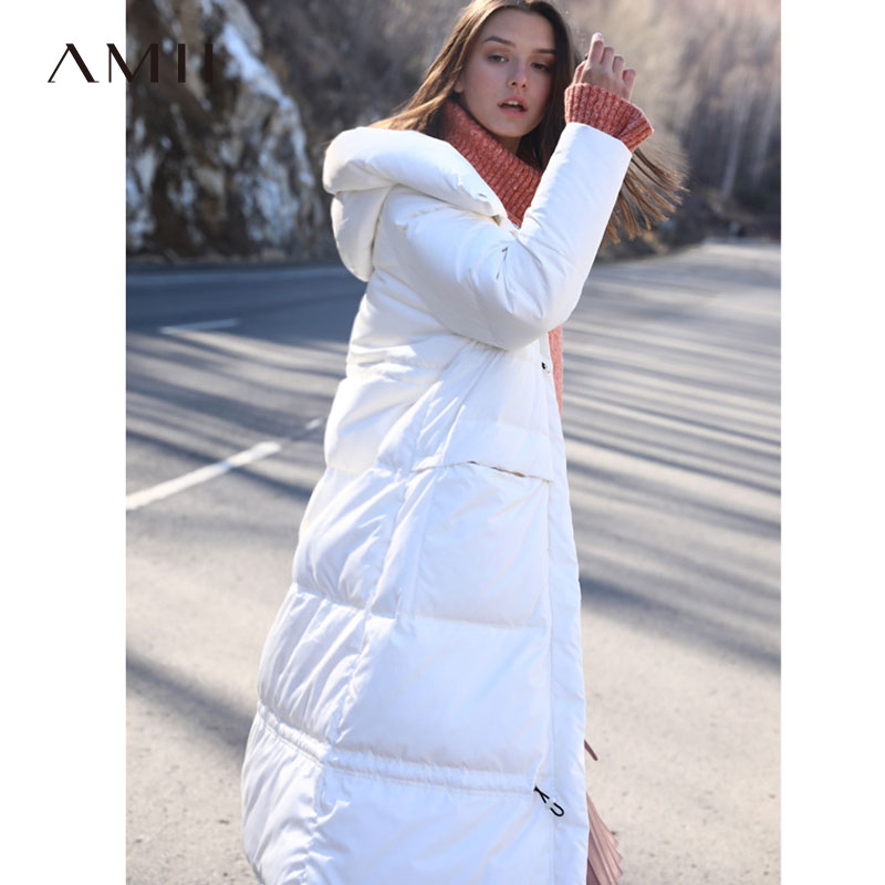 a5f1e215a320 Amii Minimalist Hooded Long Down Jacket Winter Women 2018 Casual Thick  Pocket Solid Waterproof White Down Jacket Parka