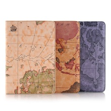 Hot Sale Fashion Map Tablet Cover Case for Ipad air 2 Wallet Style Flip Bracket Leather Sleeve for ipad 6 Auto Wake/Sleep Dec26