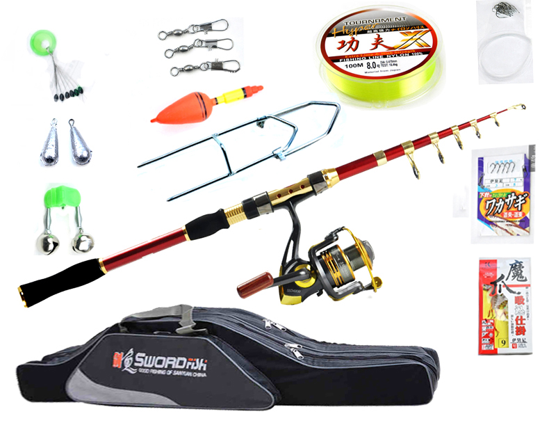 Fishing Tackle Set With 2.1m - 3.6m Telescopic Fishing Rod Spinning Reel Fishing Baits Line Fishing Bag Seawater Freshwater Kit  (1)