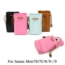 Colorful PU Leather Draw pocket Camera Bag Case Cover with Shoulder Strap For Fujifilm Instax Mini 9 Mini 8 Mini 8+ 7s 7c Camera цена 2017