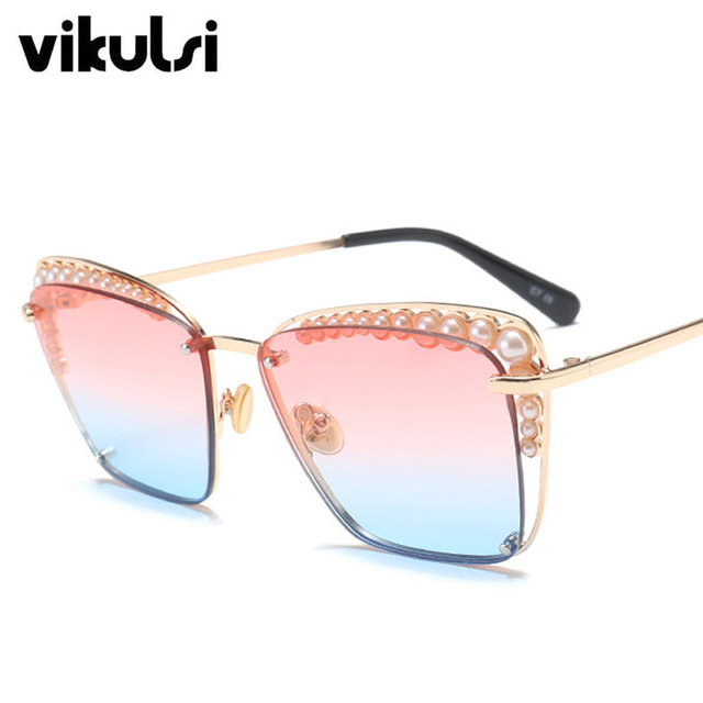 cb58c8551f 2018 Fashion Square Sunglasses Women Oversized Luxury Pearl Brand Designer  Sun Glasses Ladies For Female Pink Blue UV400 Oculos