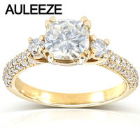 Real 2 Carat Cushion Cut M Oissanite Luxury Three Stone Engagement Ring Solid 14K Yellow Gold