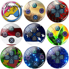 JWEIJIAO Hot Selling 5pcs/Lot Game Controller Patterns DIY Glass Cabochon Dome Pictures Demo Flat Back Making Findings(China)