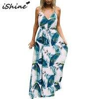 IShine Spaghetti Strap V Neck Backless Palm Leaves Printed Maxi Dress With Sashes Floral Sleeveless Boho