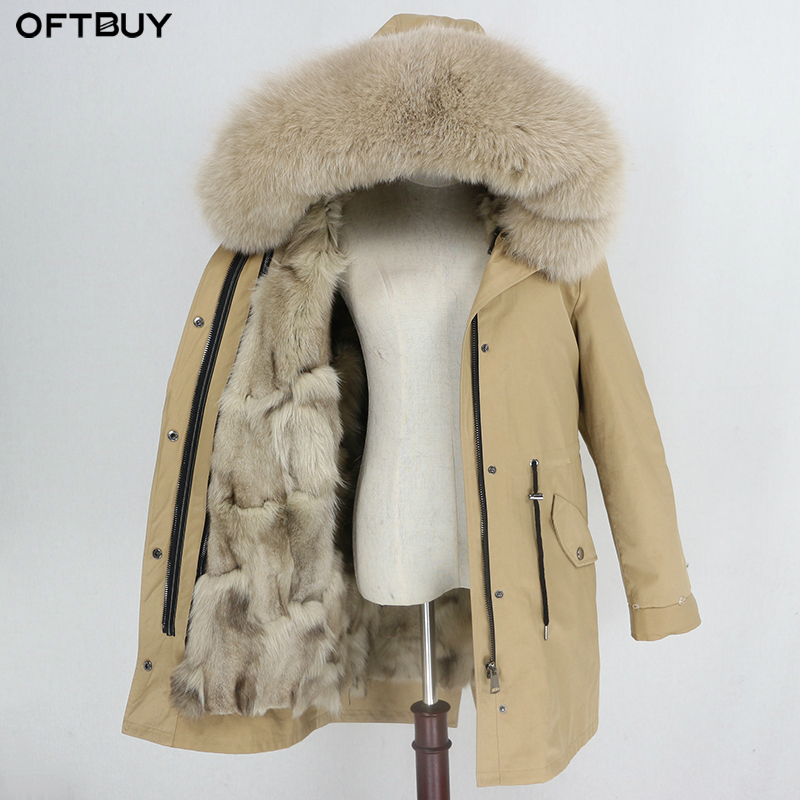 OFTBUY 2019 Waterproof Coat Real Fur Long Parka Winter Jacket Women Natural Fox Fur Detachable Thick