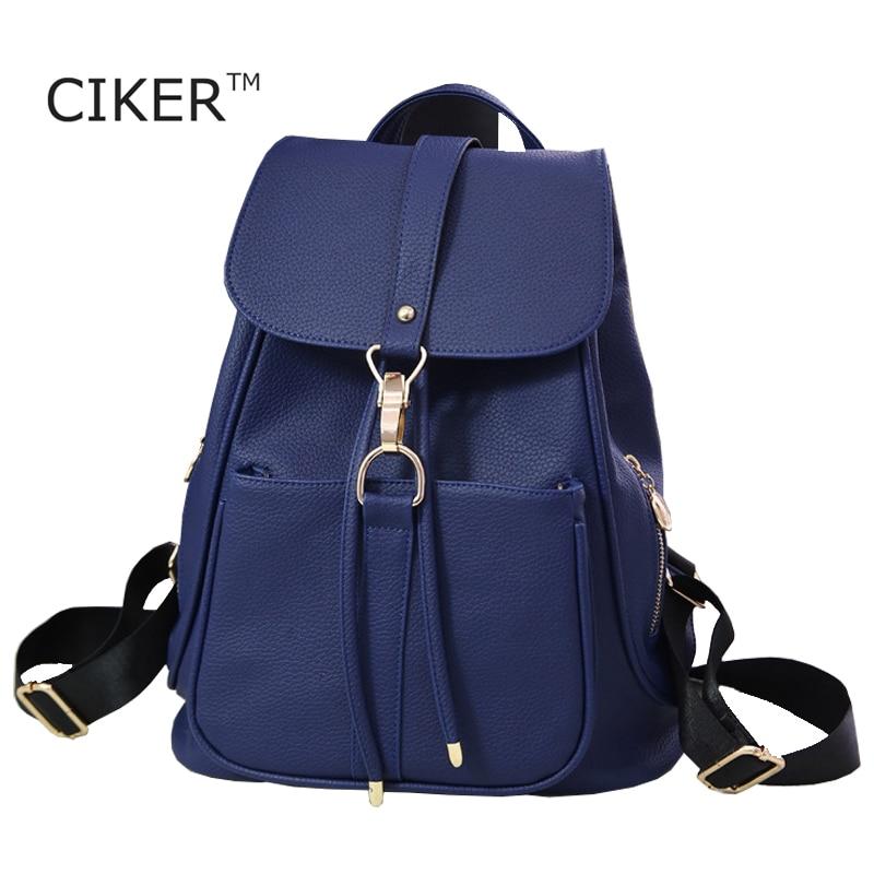 CIKER New Arrivals Women Backpacks Fashion Vintage Leather Backpacks for Teenage Girls Students School bags High
