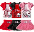 Retail 2016 Kids Clothes Sets Fashion Autumn 2pcs Sets Skirt Suit Hello Kitty Baby Girls Dresses Clothing Sets Shirt +Pants