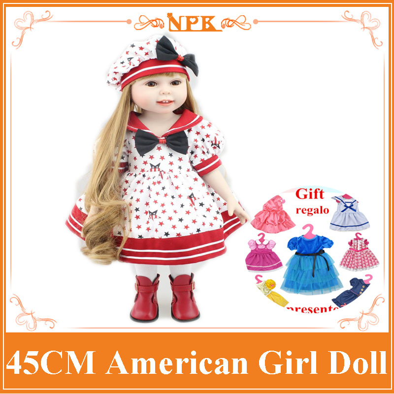 Latest Model 18 Blue/Brown Eyes 45cm American Girl Doll Realistic Baby Toys As Birthday Gift for Girls Kids Dolls Brinquedos 22 inches sweet girl dolls brown hair 55cm doll reborn baby lovely toys cute birthday gift for girls as american girl