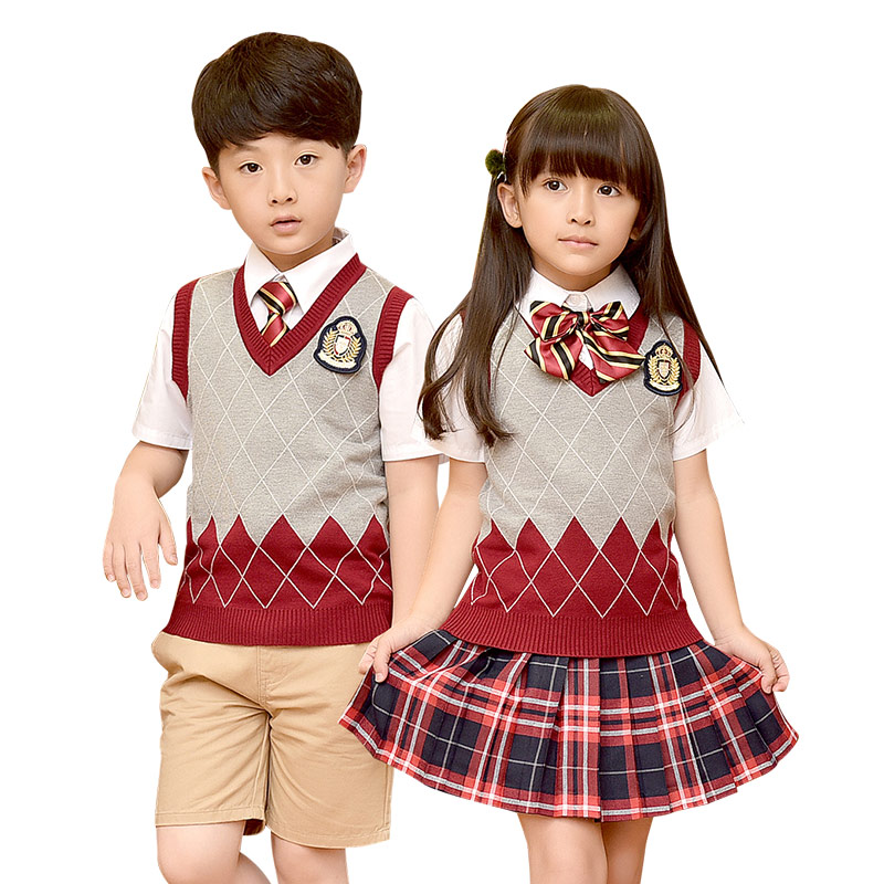 Children Cotton Fashion Student School Uniforms Set Tops Girls Boys Short Cotton Shirt Skirt Shorts Pants Tie Set Uniforms 2-10T