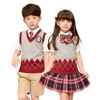 Children Cotton Fashion Student School Uniforms Set Tops Girls Boys Short Cotton Shirt Skirt Shorts Pants Tie Set Uniforms 2 10T