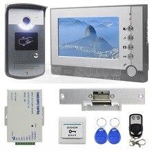 DIYSECUR Huelga Lock 7 pulgadas TFT Color Video de La Puerta Teléfono RFID de IDENTIFICACIÓN de Desbloqueo de Intercomunicación Visual Timbre LED Cámara de Visión Nocturna