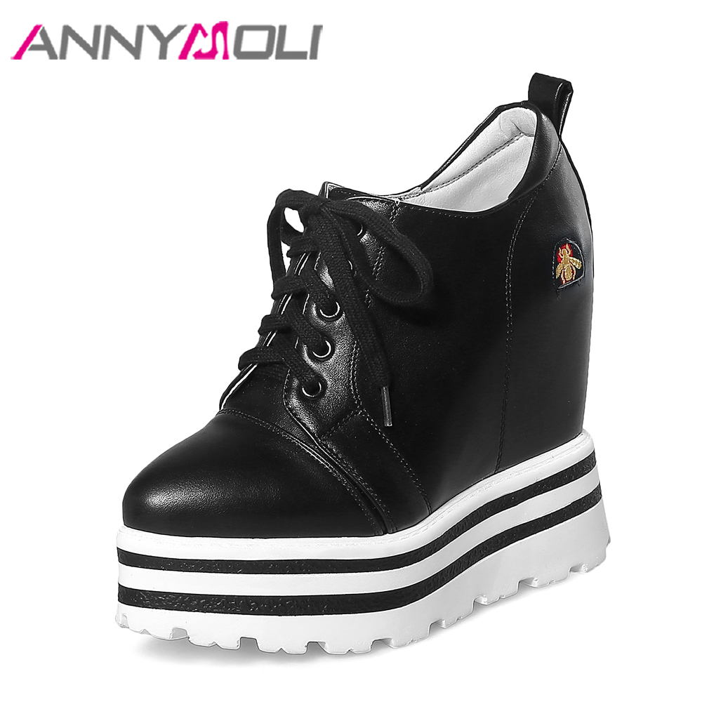 ANNYMOLI Platform High Heels Lace Up Wedge Shoes Ladies Pumps Pointed Toe Lace Up Increasing Heels Shoes Black White Size 34-39 nayiduyun women casual shoes low top platform wedge high heels boots round toe slip on pumps punk chic shoes black white sneaker