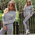GZDL Four Colors Women's Two Pieces Sets Stylish Fashion Autumn Winter O Neck Solid Tops Blouses Long Trousers Tracksuits CL3335