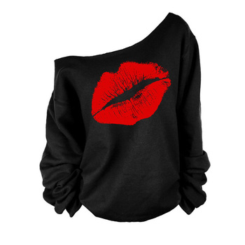 Plus Size 2015 Sexy Casual Female Pullovers Printed Lip Sweatshirts Fashion Off The Shoulder Women Long Sleeve Sweatshirts C6854 leaf printed plus size off shoulder asymmetric top