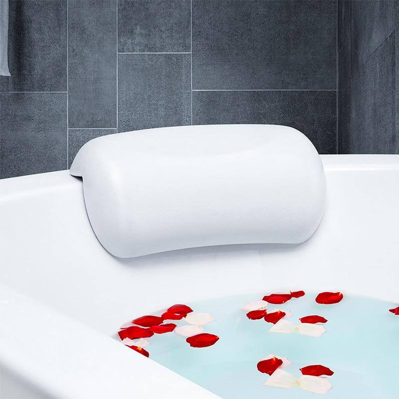 Luxurious Bath Pillow PLUS Free Bath Puff Non-slip Soft Spa Pillow for Home Hot Tub Breathable 3D Mesh Spa Bath Pillow with 4 Suction Cups