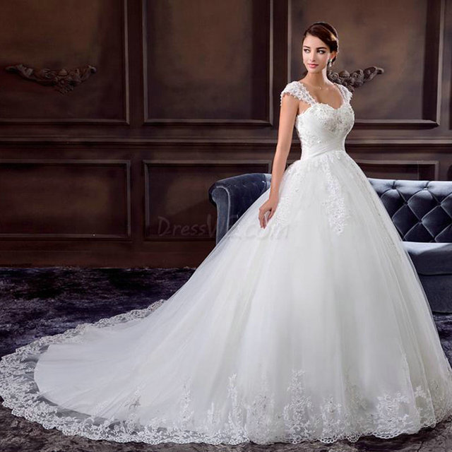 Princess Ball Gown Wedding Dresses Cap Sleeve Appliqued Lace Bridal ...