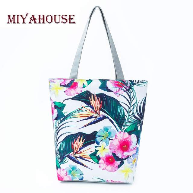 c4055b41e518 US $6.54 53% OFF| Miyahouse Colorful Flower Design Shoulder Handbags For  Women Green Leaves Printed Beach Bag Female Canvas Casual Shopping Bag-in  ...