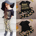2016 Children baby Girl Kids Clothes Sets 2pcs Short Sleeve T-Shirt + Trousers Pants Letter Flower 2Pcs Colorful Outfits Sets