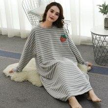 цены на Spring Autumn Women Nightshirt Long Sleeve Nightdress Plus Size Dress Round Neck Loose Home Striped Nightgowns  в интернет-магазинах