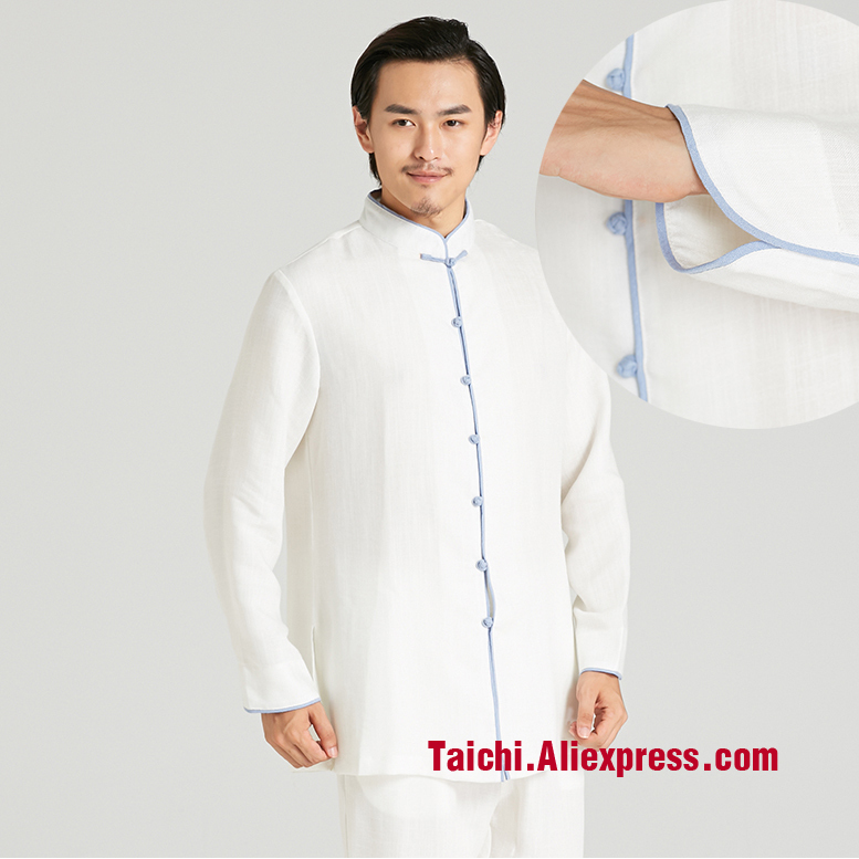 Linen Man Tai Chi Uniform Kung Fu Suit Meditation Clothes Traditional Chinese Suits White Color Blue Edge
