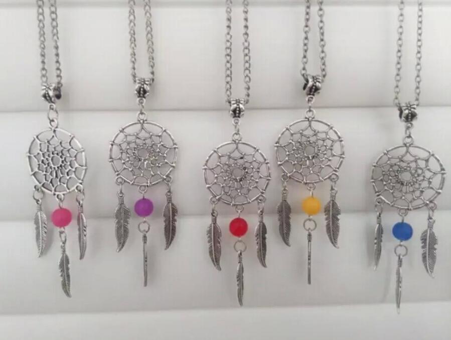 Dream Catcher Pendant Necklace Fashion Jewelry Vintage Style Antique Silver Dreamcatcher Feather