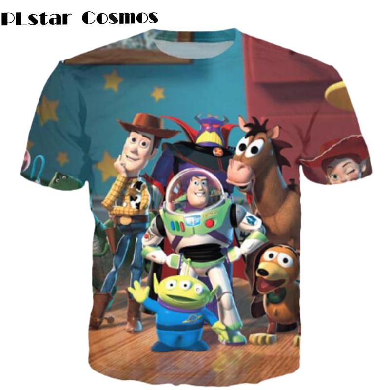 PLstar Cosmos Classic cartoon Toy Story character Buzz Lightyear 3d   t     shirt   space galaxy   t     shirt   women/men summer casual tee shi