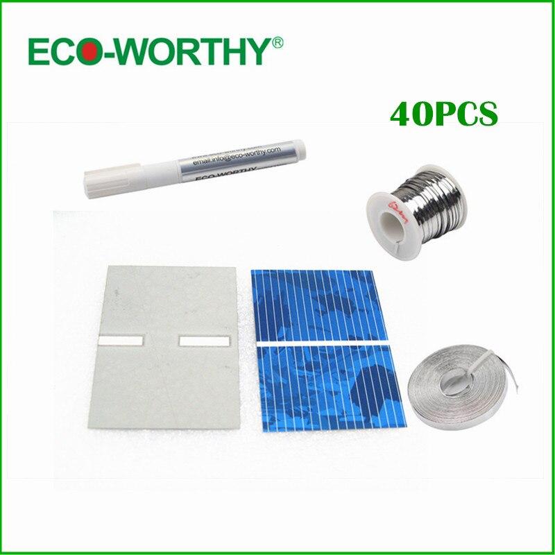 40pcs 52*38mm polycrystalline solar cell full kit tabbing wire bus wire flux pen for DIY 10w solar light , Free shipping