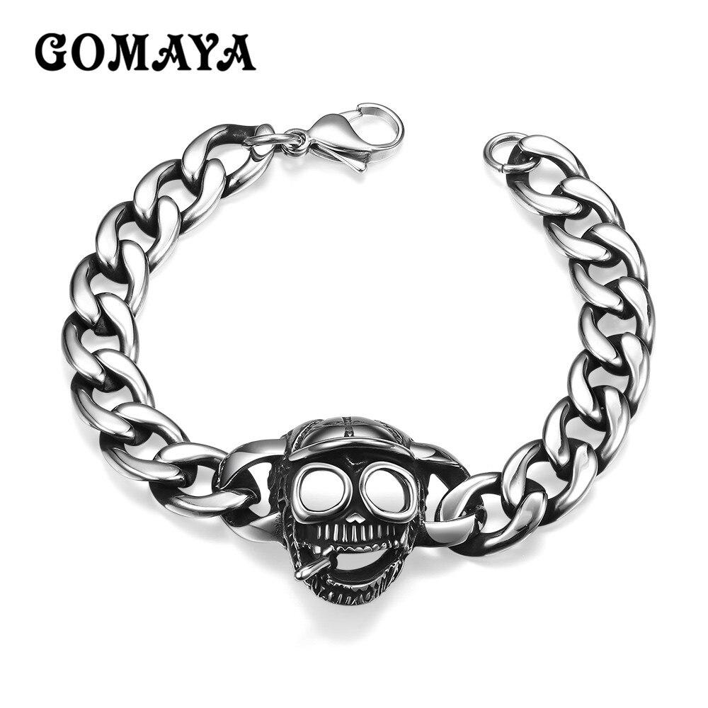 GOMAYA Stainless Steel Skull Charms Bracelet Men Women Punk Chain Bracelets Bangles Wholesale 2017 Vintage Jewelry