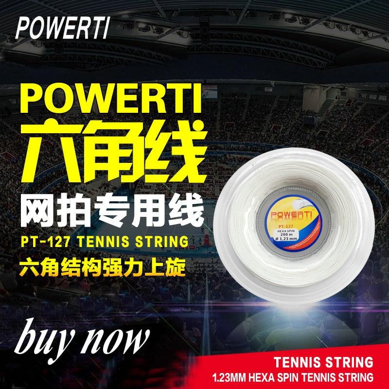 POWERTI Hexagonale 200 m Bobine De Tennis Raquette Chaîne Durable Top Spin Polyester Chaîne 1.23mm Contrôle Formation Chaîne PT-127