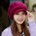 2016 Fashoin Lady Hat Winter Autumn Fall Fitted Hat For Women Female Red Knit Beanie Brand Casual Rabbit Fur Beret Beads Thermal