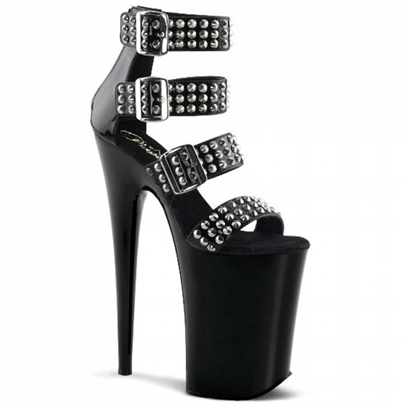 20cm fashion high heel, easy buckle belt show thin shoe, sexy lacquer rivet is decorated high heel performance sandal20cm fashion high heel, easy buckle belt show thin shoe, sexy lacquer rivet is decorated high heel performance sandal
