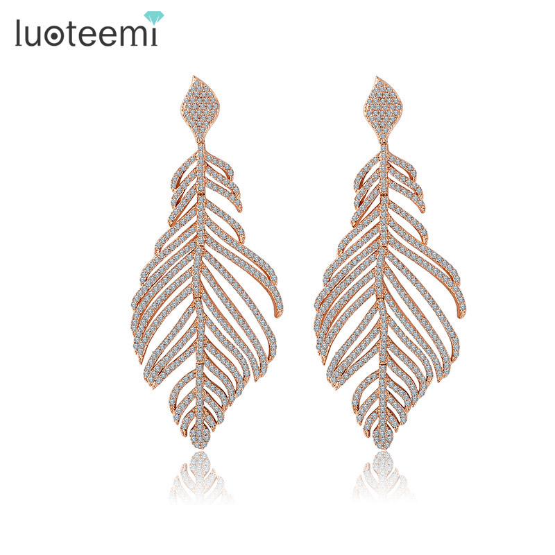 LUOTEEMI Women s Retro Boho Full Shiny CZ Rhinestone Micro Setting Luxury Big Heavy Feather Party