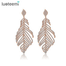 LUOTEEMI Women's Retro Boho Full Shiny CZ Rhinestone Micro Setting Luxury Big Heavy Feather Party Deluxe Dangle Earrings