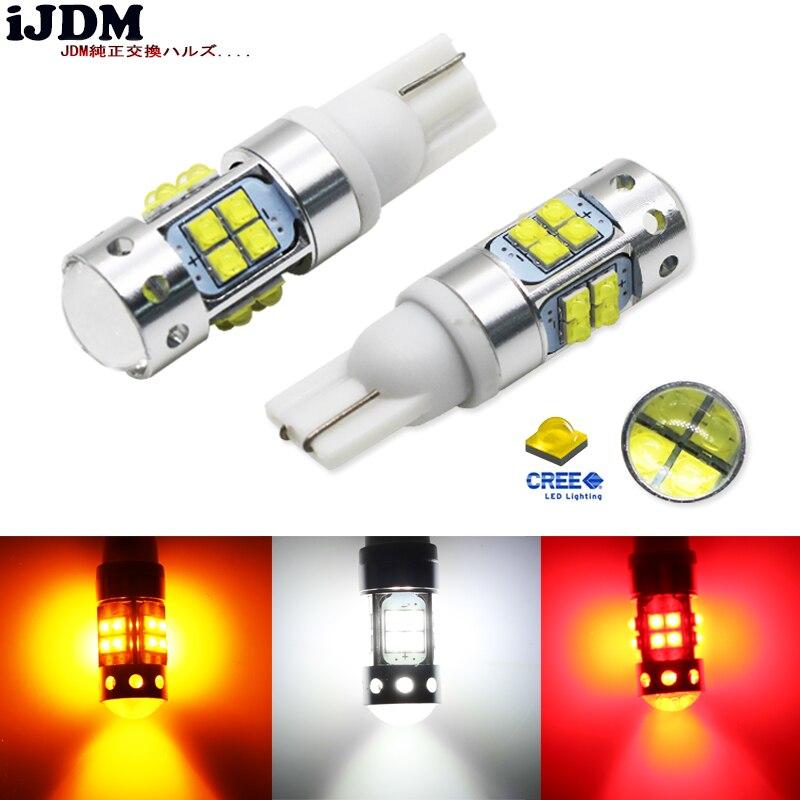 IJDM Auto T10 ha condotto la Lampadina 912 921 T15 168 W5W LED per Luci di Retromarcia Luci di Parcheggio indicatore di Direzione, Luce 6000 k Bianco Giallo Rosso 12 V