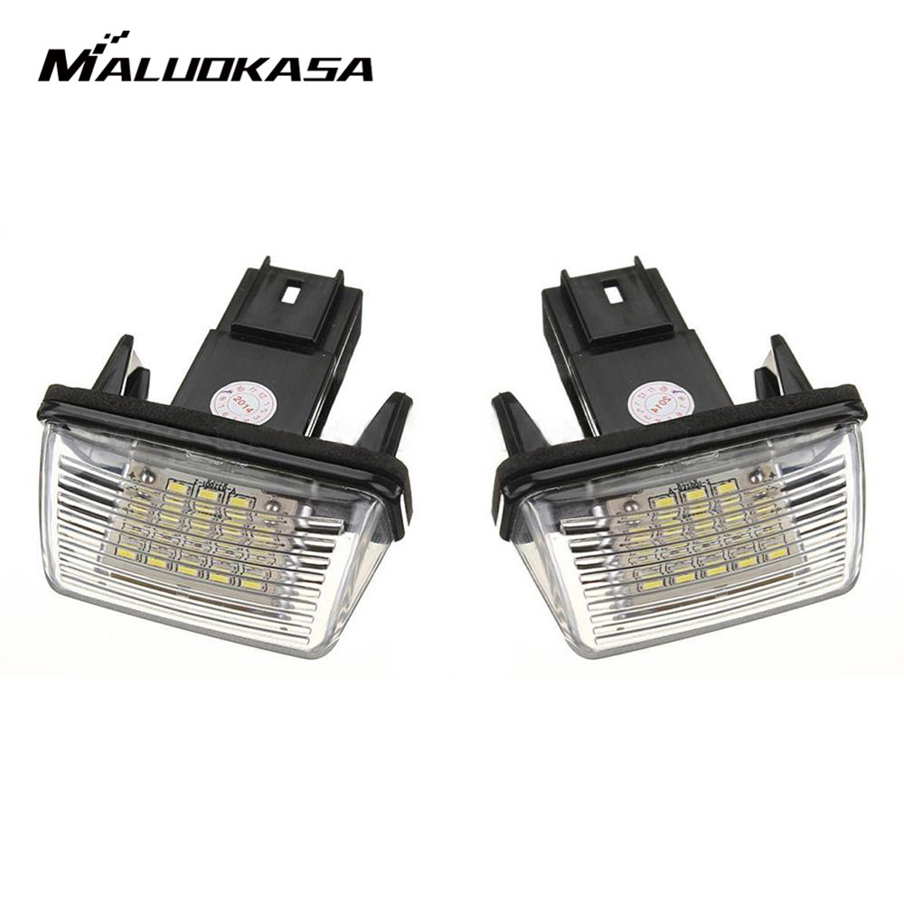 MALUOKASA 2Pcs Error 18 LED Number License Plate Light For Peugeot 206 207 306 307 406 407 6000K C45 CITROEN BERLINGO C3 C4 C5 2pcs led license number plate light for peugeot 206 207 306 307 308 5008 406 407 for citroen picasso c3 c4 c5 c6 saxo xsara