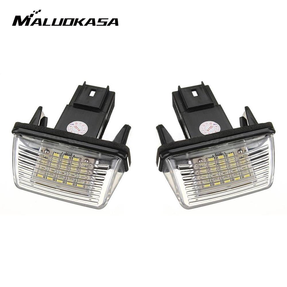 MALUOKASA 2Pcs Error 18 LED Number License Plate Light For Peugeot 206 207 306 307 406 407 6000K C45 CITROEN BERLINGO C3 C4 C5