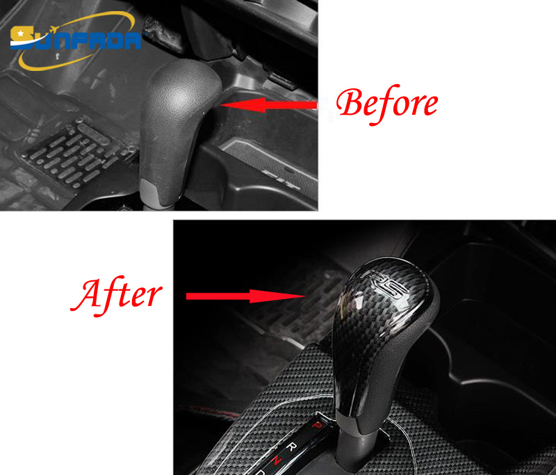 sunfada carbon fiber gear shift knob interior car cover modification auto parts for honda fit. Black Bedroom Furniture Sets. Home Design Ideas