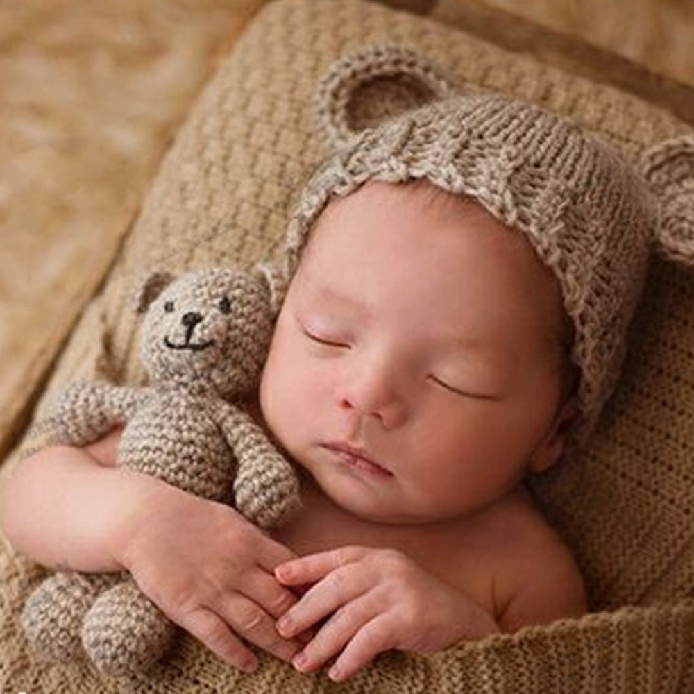 Cute Newborn Photography Props Baby Hat Girl Boy Beanies Crochet Knit Costume Bear and Baby Cap Infant photography accessories lingerie top