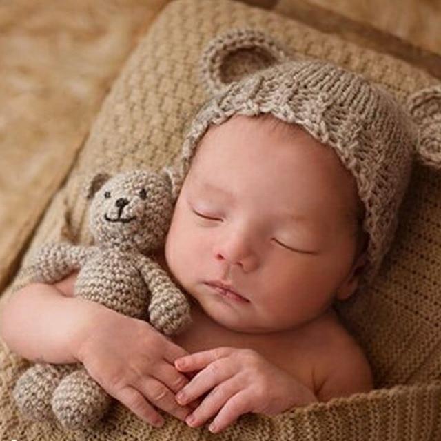 04eaf0b56 Cute Newborn Photography Props Baby Hat Girl Boy Beanies Crochet Knit  Costume Bear and Baby Cap