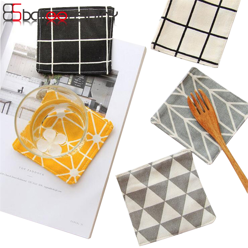 BalleenShiny Kitchen Accessories Cotton Cloth Nordic Ins Zakka Black White Simple Geometry Mats Pads Dining Table Placemats