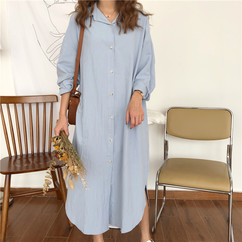 Vintage autumn Long Dress long Sleeve shirt turn down collar woman Lady loose shirt Casual Fashion maxi Dress cotton blue white 3