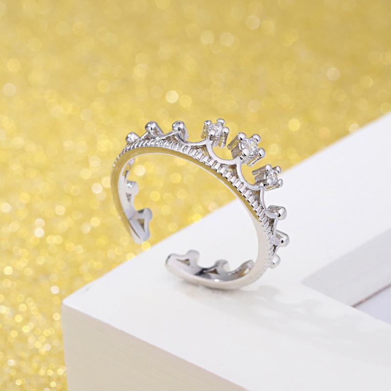 100 925 sterling silver hot sell shiny crown crystal ladies adjustable rings women jewelry female birthday gift drop shipping in Wedding Bands from Jewelry Accessories