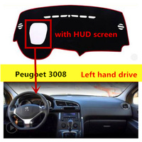 TAIJS left hand drive car dashboard mat cover for Peugeot 3008 with HUD screen Auto dashboard rug for Peugeot 3008