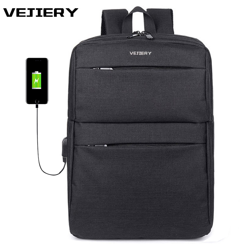 VEJIERY Multifunction USB Charging Men Backpack 14 Inch Laptop Backpacks for Teenager Fashion Male Leisure Travel Backpack vejiery men