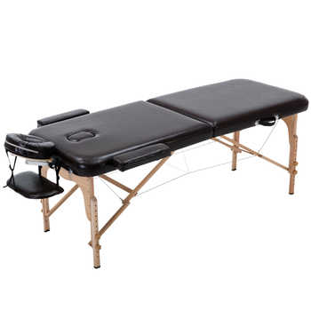 Massage Table Portable 2 Section Folding Couch Bed Lightweight Beauty Salon Tattoo Therapy Wooden Frame 70 cm width -Black - DISCOUNT ITEM  50 OFF Furniture