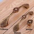 128mm europen brass Engraving Flower dresser kitchen cbinet door handles antique gold drawer knobs pulls retro furniture handles
